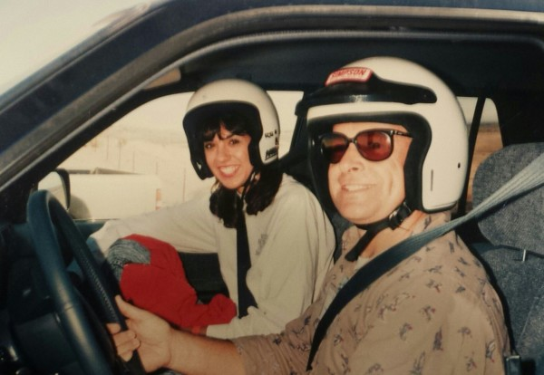 Kim Custer teaches Lisa Dunn the secret to off-road driving at Willow Springs